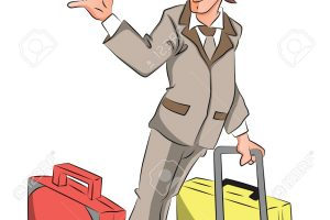 Vector of businessman with luggage waving goodbye