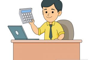 accountant at desk holding calcuator