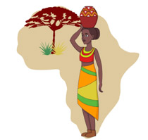 African Woman Holding Pot On Head With Map Of Africa Clipart