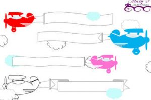 airplane with banner clipart 6