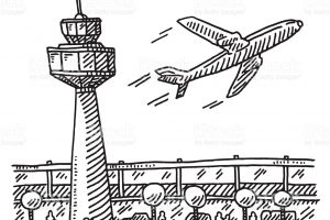 airport clipart black and white 3