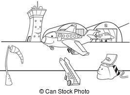 airport clipart black and white