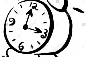 alarm clock clipart black and white 7