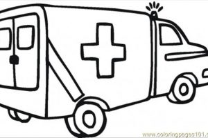 ambulance clipart black and white 3