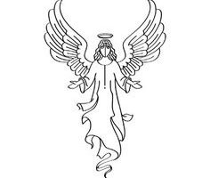 angel clipart black and white 1