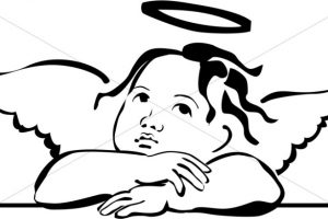 angel clipart black and white 4