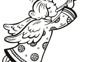angel clipart black and white 8