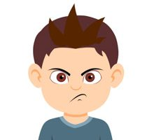 Boy character angry expression clipart