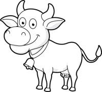 cow wearing bell outline clipart