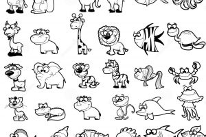 animals black and white clipart 6