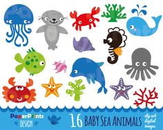 animals live in water clipart