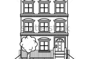 apartment building clipart black and white 1