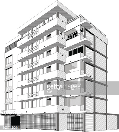 Black And White Apartment Building Clip Art | Home Design Plan