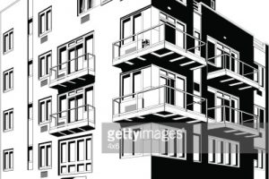 apartment building clipart black and white