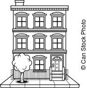 apartment building clipart black and white 4