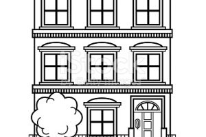 apartment building clipart black and white 5