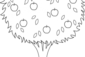 apple tree clipart black and white 2