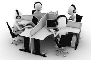 3d man, call center, isolated on white