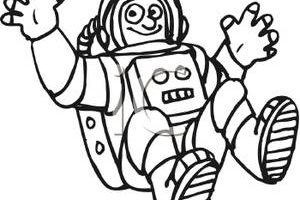 astronaut clipart black and white 2
