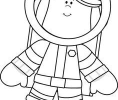 astronaut clipart black and white 4