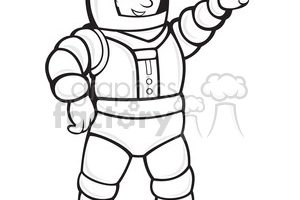 astronaut clipart black and white 6