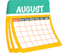 monthly calender august-clipart