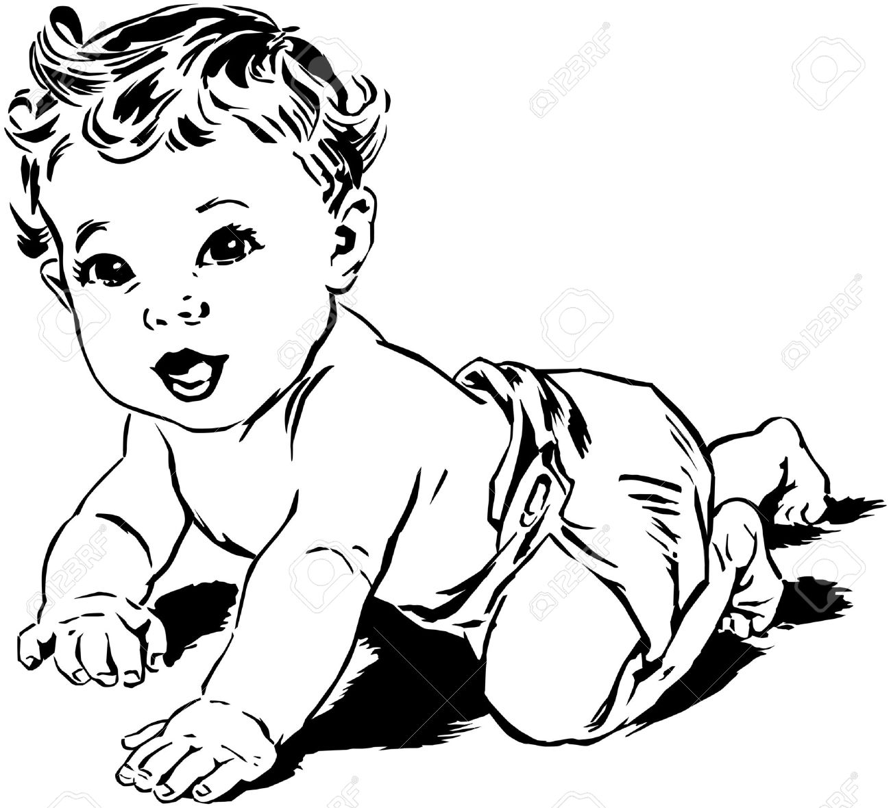 Baby Black And White Clipart