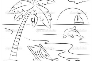 Summer Scene Coloring Pages Awesome Beach 37 5936
