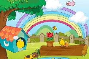 beautiful garden with rainbow background clipart 1