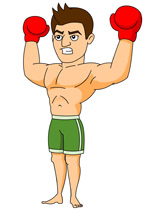 Boxing Player Giving Winning Aggressive Expression Clipart Clipart