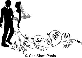 Bride And Groom Silhouette Clipart Black White 10