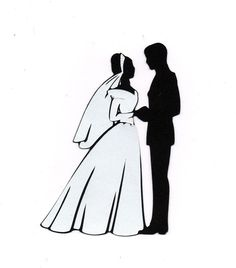 Bride And Groom Silhouette Clipart Black White 5