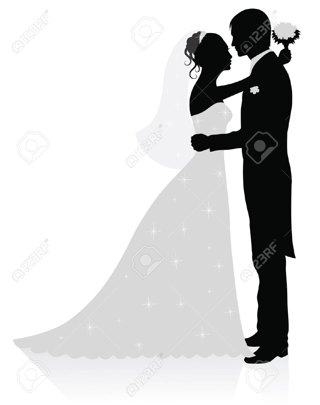 Bride And Groom Silhouette Clipart Black White 6