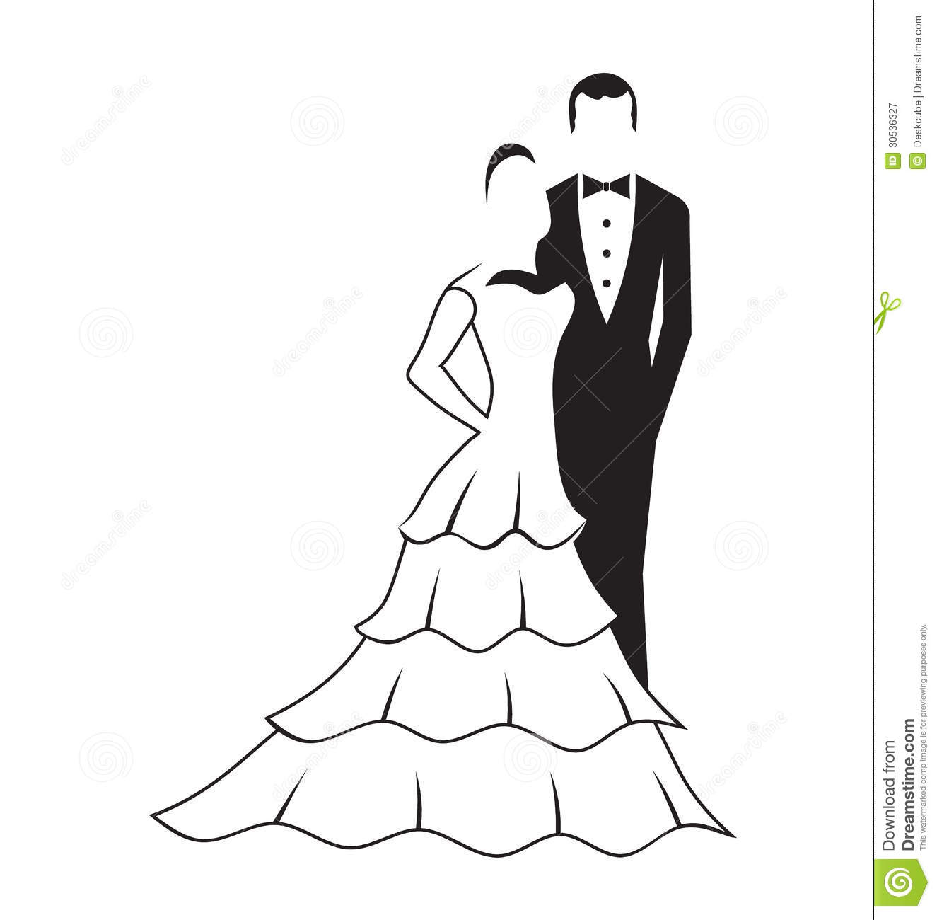 Bride And Groom Silhouette Clipart Black White 7