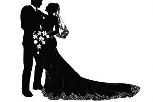 bride and groom silhouette clipart black and white 8