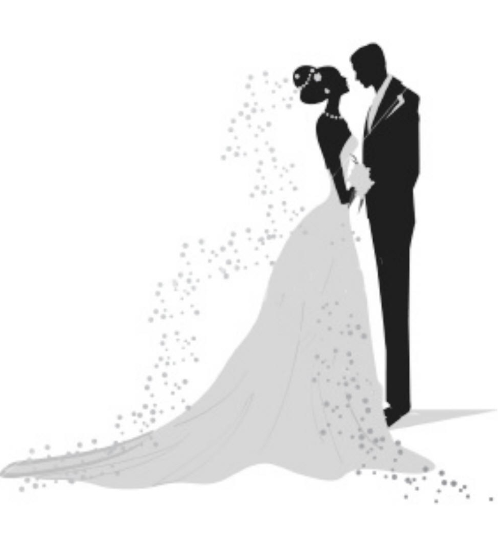 Bride And Groom Silhouette Clipart Black White 9