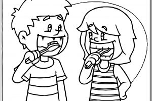 brushing teeth clipart black and white 7