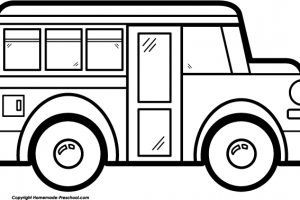 bus black and white clipart 2