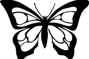 butterfly clipart black and white 8
