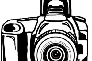 camera clipart black and white