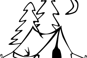Camping Clipart Black And White 1