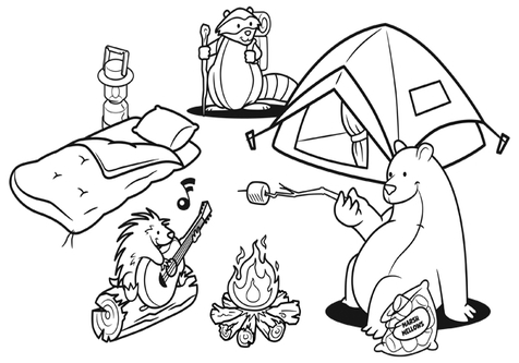 Camping Clipart Black And White 4