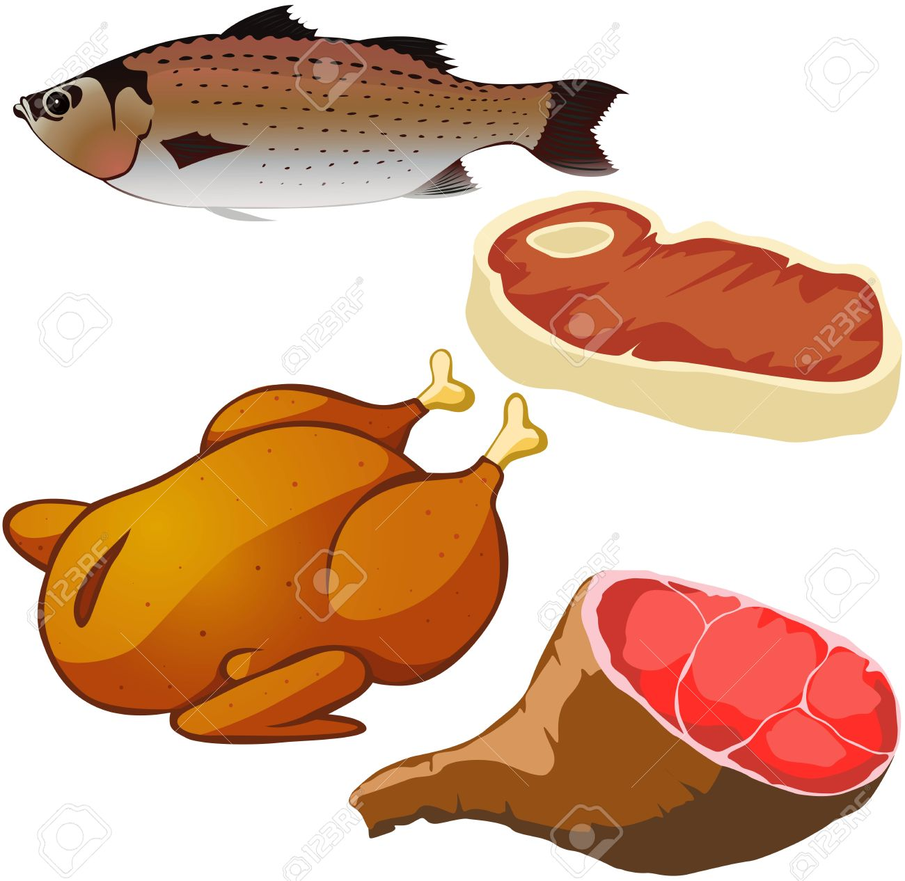 Chicken fish. Meat clipart station