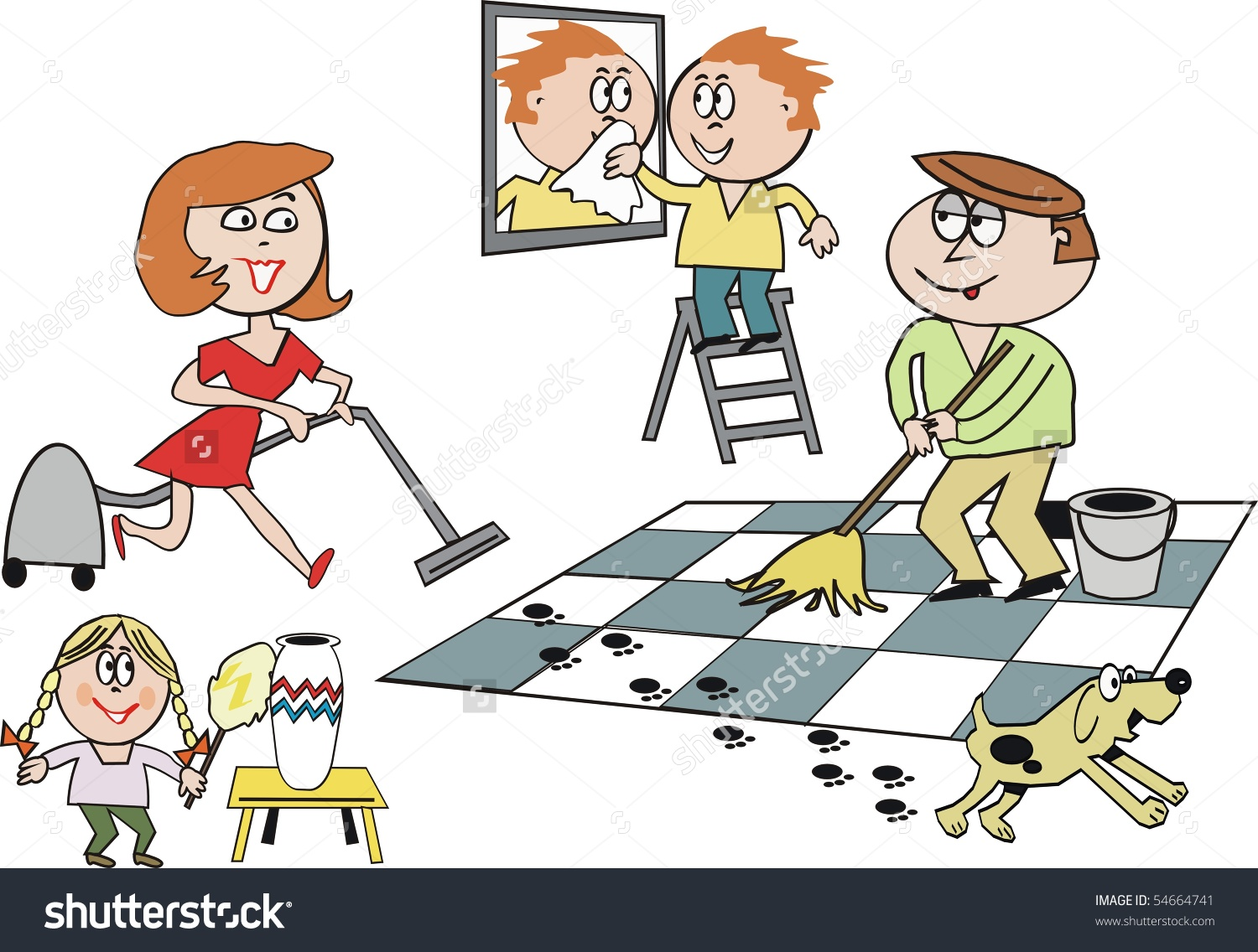 children helping parents in cleaning house clipart 4 » clipart station