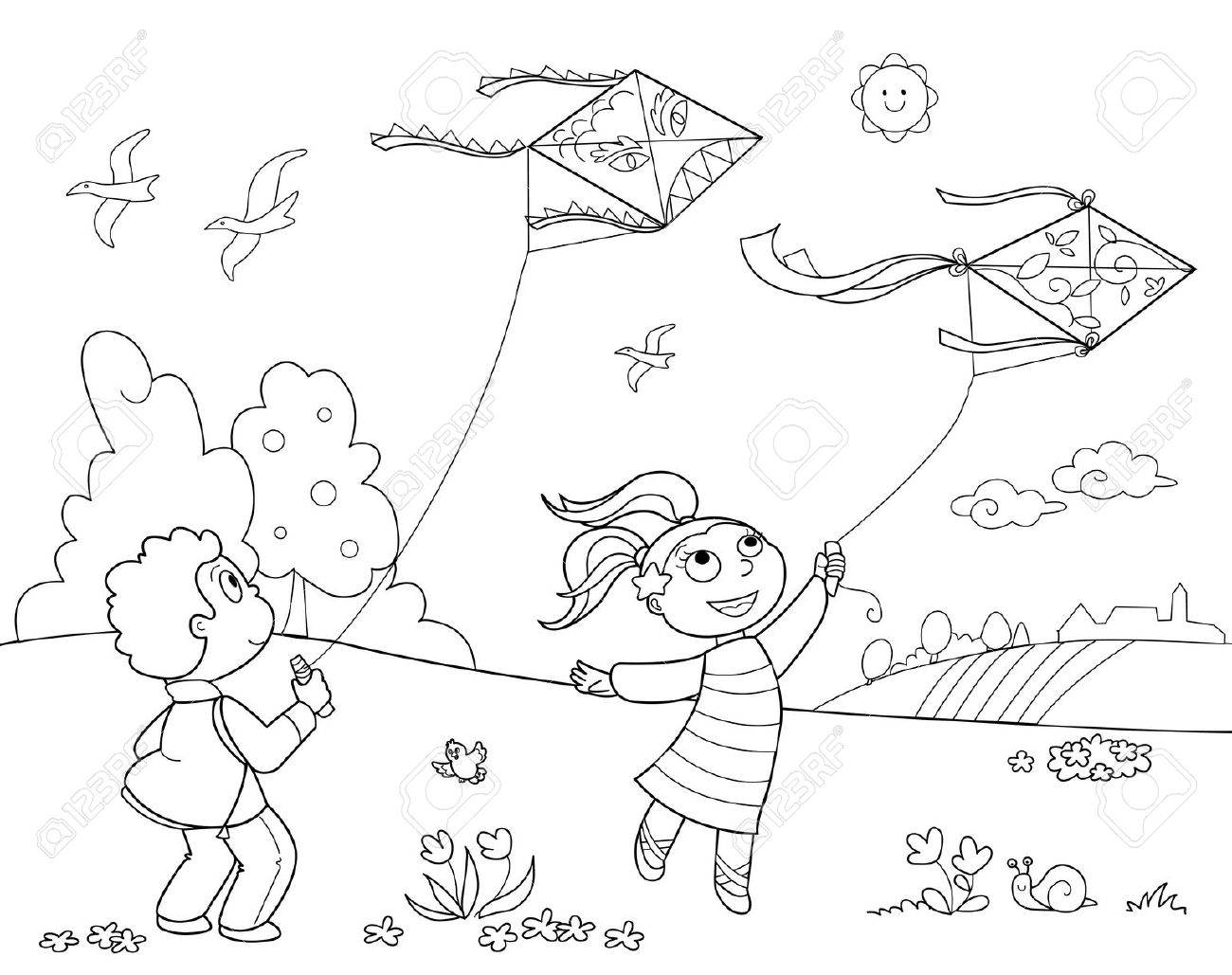 children playing in the park clipart black and white 14 » clipart