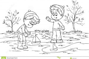 Children Playing In The Park Clipart Black And White 2