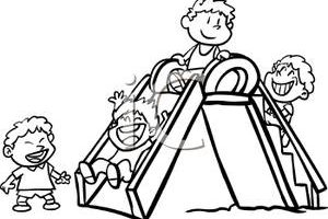 children playing in the park clipart black and white 5