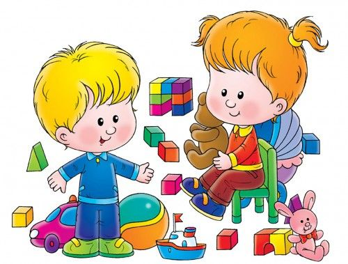 Preschool Toys Clip Art : Children playing with toys clipart station