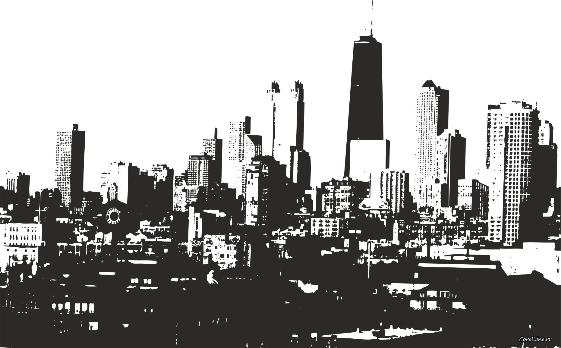 City building clipart black and white 6 » Clipart Station