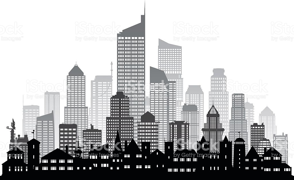 City buildings clipart black and white 2 » Clipart Station